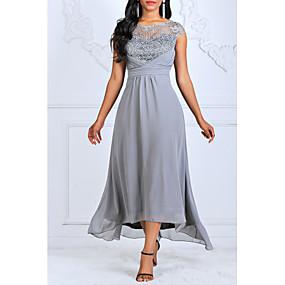 cheap Women's Dresses-Women's Plus Size Maxi Swing Dress - Sleeveless Geometric Lace Ruffle Fashion Elegant Wine Blue S M L XL XXL XXXL XXXXL XXXXXL