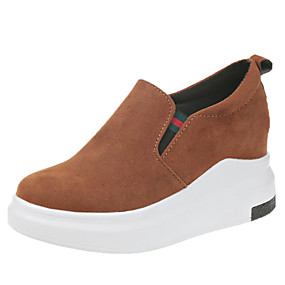voordelige Damessneakers-Dames Sneakers Plateau Ronde Teen Kanten stiksel Suède Informeel / Brits Lente / Herfst winter Zwart / Bruin / Koffie