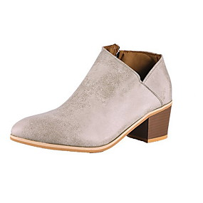 billige Mote Boots-Dame Støvler Tykk hæl Rund Tå Semsket lær Ankelstøvler Vinter Mørkebrun / Grå / Kakifarget