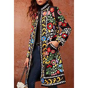 preiswerte Damenbekleidung-Damen Alltag Grundlegend Herbst Winter Lang Mantel, Geometrisch Ständer Langarm PU Grün