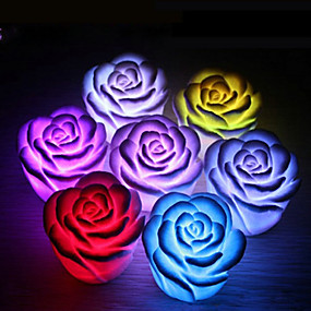 cheap 3D Night Lights-4Pcs Rose Flower LED Light Night Changing Romantic Candle Light Lamp Festival Party Decoration Light