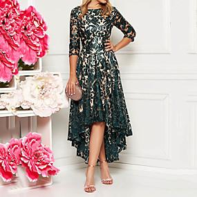 preiswerte Damenbekleidung-Damen Elegant Spitze A-Linie Kleid - Spitze, Lace Printing Asymmetrisch / Schlank