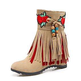 billige Mote Boots-Dame Støvler Skjult Hæl Rund Tå Dusk PU Ankelstøvler Britisk / Preppy Høst vinter Svart / Rød / Beige / Fest / aften