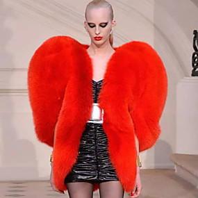 preiswerte Modische Kleidung-Damen Alltag Grundlegend Standard Kunstpelz-Mantel, Solide Umlegekragen Halbe Ärmel Kunst-Pelz Rote