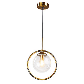cheap Pendant Lights-1-Light 15 cm Pendant Light Metal Glass Circle Electroplated Nordic Style 110-120V / 220-240V