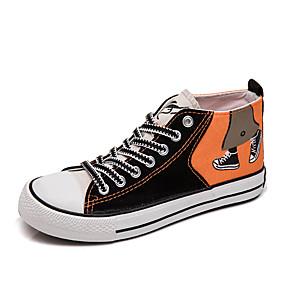 voordelige Damessneakers-Dames Sneakers Creepers Ronde Teen Canvas Lente & Herfst Oranje / Khaki