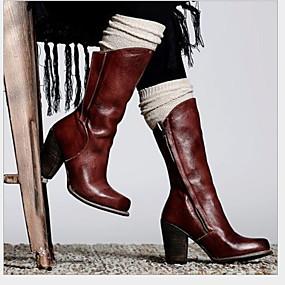 billige Mote Boots-Dame Støvler Flat hæl Rund Tå PU Støvletter Høst vinter Svart / Brun