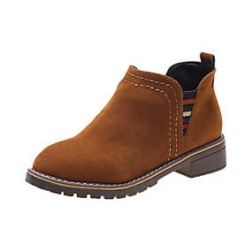 billige Mote Boots-Dame Støvler Blokker hælen Rund Tå Semsket lær Ankelstøvler Fritid / Preppy Gange Høst vinter Svart / Brun / Militærgrønn