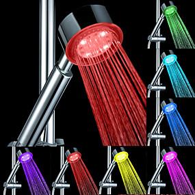 preiswerte Renovierung-LED-Duschkopf Farbwechsel 2 Wassermodus 7 Farbe Leuchten Licht automatisch wechselnden Handbrause