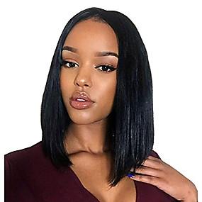 ราคาถูก Lace Wigs with Bangs-ผม Remy เต็มไปด้วยลูกไม้ มีลูกไม้ด้านหน้า วิก บ๊อบตัดผม ตอนกลาง สไตล์ ผมบราซิล ธรรมชาติตรง ดำ วิก 130% 150% 180% Hair Density การออกแบบทางด้านแฟชั่น คุณภาพที่ดีที่สุด มาใหม่ ลดกระหน่ำ สบาย