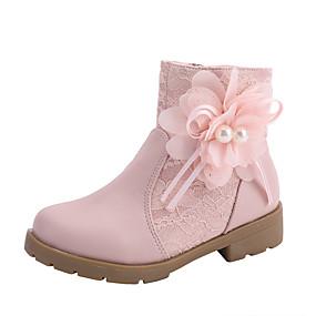 preiswerte Schuhe für Kinder-Mädchen Komfort / Schuhe für das Blumenmädchen Spitze Stiefel Kleine Kinder (4-7 Jahre) / Große Kinder (ab 7 Jahren) Walking Perle / Blume / Kombination Weiß / Rosa Herbst / Winter
