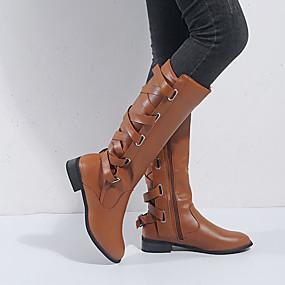 billige Mote Boots-Dame Støvler Lav hæl Rund Tå Nagle / Spenne PU Støvletter Britisk / minimalisme Vår & Vinter / Høst vinter Svart / Brun / Vin