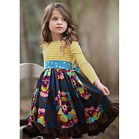 povoljno Sniženje-Djeca Djevojčice Slatka Style Cvjetni print Dugih rukava Do koljena Haljina Navy Plava / Pamuk