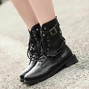 cheap Fashion Boots-Women's Boots Low Heel Round Toe PU Booties / Ankle Boots Fall & Winter Black