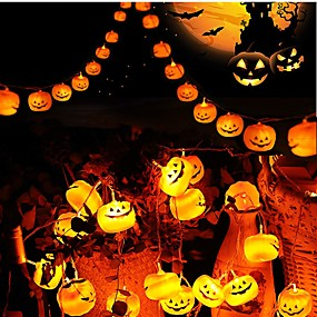 cheap Light Strips & Strings-3m 9.8ft 20 LED Halloween String Lights LED Pumpkin 3D Jack o Lantern Lights for Outdoor Decor Steady Flickering