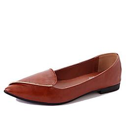 voordelige Damesschoenen met platte hak-Dames Platte schoenen Platte hak Ronde Teen PU Zomer Zwart / Donker Bruin
