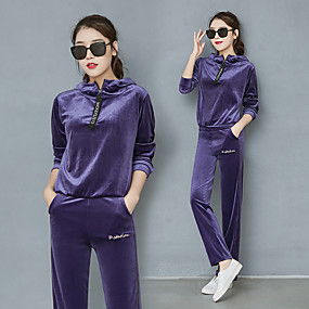 cheap Running & Jogging-Women's 2 Piece Quarter Zip Tracksuit Sweatsuit Street Casual Long Sleeve Velour Warm Breathable Soft Fitness Gym Workout Running Active Training Jogging Sportswear Solid Colored Sweatshirt Track