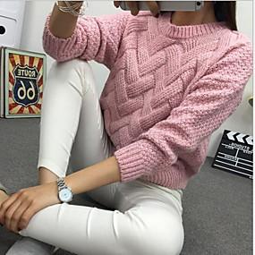 preiswerte Damen Oberteile-Damen Solide Langarm Pullover Pullover Jumper, Rollkragen Weiß / Rosa / Kamel Einheitsgröße
