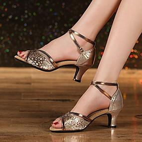 preiswerte Tanzschuhe-Damen Tanzschuhe Leder Schuhe für den lateinamerikanischen Tanz Absätze Starke Ferse Gold / Silber / Kaki
