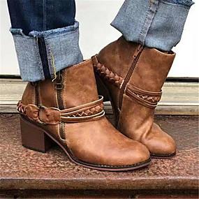 billige Mote Boots-Dame Støvler Tykk hæl Spisstå Blondesøm PU Ankelstøvler Britisk Gange Høst vinter Svart / Brun / Lys Grønn