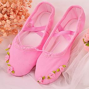 ราคาถูก พรีเซลล์-เด็กผู้หญิง รองเท้าเต้นรำ ผ้าใบ บัลเล่ต์ ส้นเรียบ ส้นแบน สีดำ / ขาว / สีบานเย็น