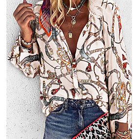 cheap Winter Clothing-Women's Daily Plus Size Loose Shirt - Geometric V Neck Purple