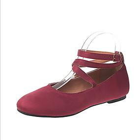 voordelige Damesschoenen met platte hak-Dames Platte schoenen Platte hak Ronde Teen Suède Zomer Zwart / Luipaard / Fuchsia