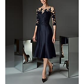 preiswerte Damen Kleider-Damen Elegant Spitze Hülle Kleid - Spitze, Blumen Knielang Schulterfrei