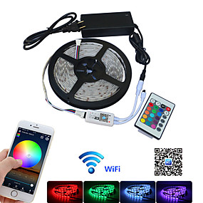 cheap WiFi Control-LED Strip Light RGB Wifi 5m SMD 5050 Led Light Strip Waterproof Tape DC 12V Flexible Fita Neon Ribbon Tape With Wifi Control IP65 1set