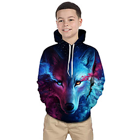 cheap Kids 3D Fashion-Kids Toddler Boys' Active Basic Wolf Geometric Color Block 3D Print Long Sleeve Hoodie & Sweatshirt Blue