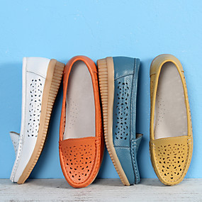 voordelige Damesinstappers & loafers-Dames Loafers & Slip-Ons Heterotypic Heel Ronde Teen PU Klassiek / minimalisme Lente & Herfst Wit / Oranje / Geel