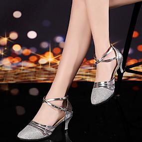 preiswerte Tanzschuhe-Damen Tanzschuhe Leder Schuhe für modern Dance Absätze Schlanke High Heel Gold / Silber / Rot / Leistung