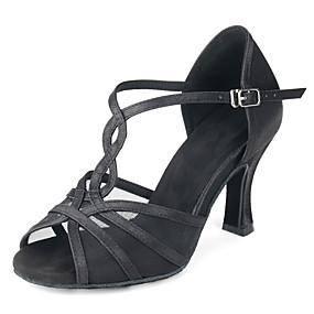 ราคาถูก Dance Shoes-สำหรับผู้หญิง รองเท้าเต้นรำ ซาติน ลาติน หัวเข็มขัด ส้น ส้นป้าน ตัดเฉพาะได้ สีดำ / Almond