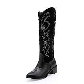 preiswerte Damenschuhe-Damen Stiefel Kniehohe Stiefel Blockabsatz Runde Zehe PU / Kunststoff Kniehohe Stiefel Herbst Winter Schwarz / Braun