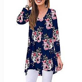 preiswerte Damen Oberteile-Damen Blumen T-shirt Schwarz