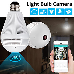 preiswerte Fan-360 Grad führte Licht 1080p drahtlose panoramische inländische Sicherheit wifi cctv fisheye Birnenlampe 2mp IP-Kamera mit Mikrofon