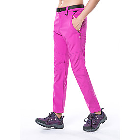 cheap Camping, Hiking & Backpacking-Women's Hiking Pants Trousers Solid Color Winter Outdoor Waterproof Windproof Fleece Lining Warm Softshell Pants / Trousers Bottoms Red Army Green Fuchsia Climbing Camping / Hiking / Caving Traveling