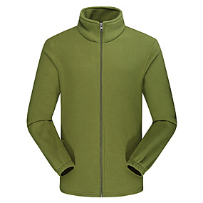 cheap Camping, Hiking & Backpacking-Men's Hiking Fleece Jacket Autumn / Fall Winter Outdoor Solid Color Windproof Fleece Lining Warm Soft Winter Fleece Jacket Top Camping / Hiking / Caving Traveling Winter Sports Black Army Green Navy