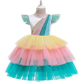 preiswerte Baby & Kinder-Kinder Mädchen nette Art Regenbogen Kleid Weiß
