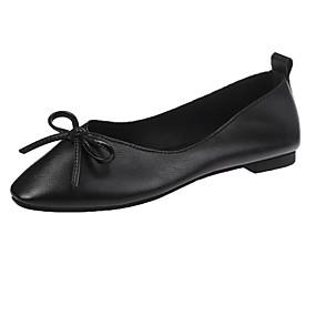 voordelige Damesschoenen met platte hak-Dames Platte schoenen Platte hak Vierkante Teen Strik PU Informeel Herfst Zwart / Geel / Rood