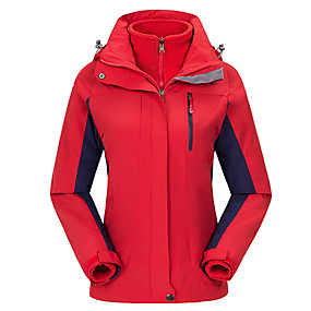 cheap Camping, Hiking & Backpacking-Women's Hiking Jacket Autumn / Fall Winter Outdoor Patchwork Waterproof Windproof Warm Breathable Jacket Top Hunting Fishing Camping / Hiking / Caving Red Fuchsia Sky Blue