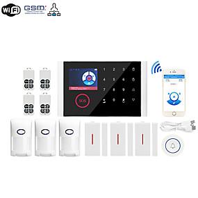 preiswerte Schutz & Sicherheit-cs108-wifi + gsm multi-netzwerk wireless gsm einbruchalarm wifi home alarm host wireless türklingel alarmanlage (paket vier) home alarmanlagen / alarm host / tür& amp; Fenstersensor GSM + WiFi