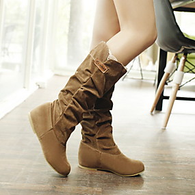 billige Mote Boots-Dame Støvler Flat hæl Rund Tå Semsket lær Støvletter Høst vinter Svart / Brun / Gul
