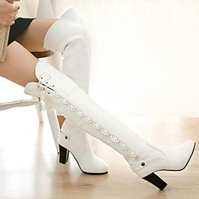 billige Mote Boots-Dame Støvler Over-The-Knee Boots Tykk hæl Rund Tå PU Lårhøye støvler Høst vinter Svart / Hvit / Burgunder