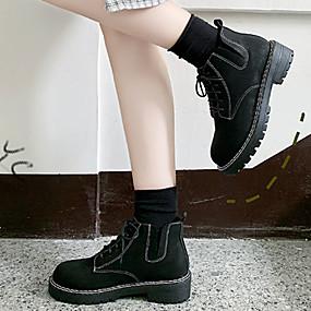 billige Mote Boots-Dame Støvler Lav hæl Rund Tå Semsket lær / Syntetisk Ankelstøvler Preppy / minimalisme Vår & Vinter / Høst vinter Svart
