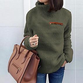 preiswerte Damenbekleidung-Damen Solide Langarm Pullover Pullover Jumper, Rollkragen Schwarz / Wein / Hellgrau S / M / L