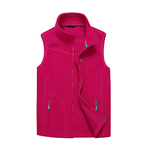 cheap Camping, Hiking & Backpacking-Women's Hiking Fleece Jacket Fishing Vest Work Vest Outdoor Casual Lightweight with Multi Pockets Fall Winter Travel Cargo Safari Photo Wear Resistance Breathable Waistcoat Jacket Coat Top