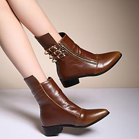 billige Mote Boots-Dame Støvler Tykk hæl Spisstå Spenne PU Støvletter Vintage Høst vinter Svart / Brun