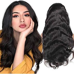 ราคาถูก Lace Wigs with Bangs-ผม Remy มีลูกไม้ด้านหน้า วิก ฟรี Part สไตล์ ผมบราซิล คลื่นหลัก ธรรมชาติ วิก 130% 150% 180% Hair Density Safety นุ่ม คลาสสิก ลดกระหน่ำ สบาย สำหรับผู้หญิง ยาว วิกผมแท้ PERFE