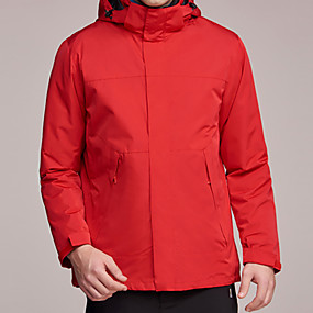 cheap Camping, Hiking & Backpacking-Men's Hiking Jacket Hiking 3-in-1 Jackets Autumn / Fall Winter Outdoor Patchwork Waterproof Windproof Warm Soft Jacket Top Camping / Hiking / Caving Traveling Black Red Royal Blue